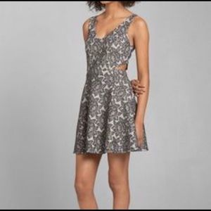 Gray floral side cut out minidress